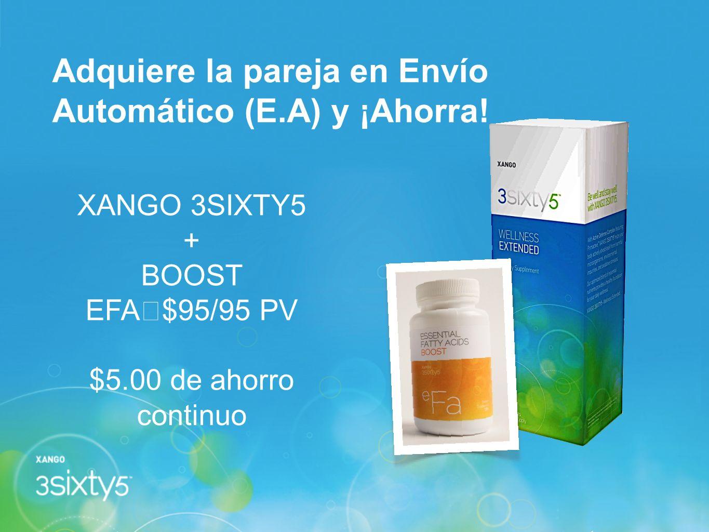 Adquiere la pareja en Envío Automático (E.A) y ¡Ahorra! XANGO 3SIXTY5 + BOOST EFA $95/95 PV $5.00 de ahorro continuo