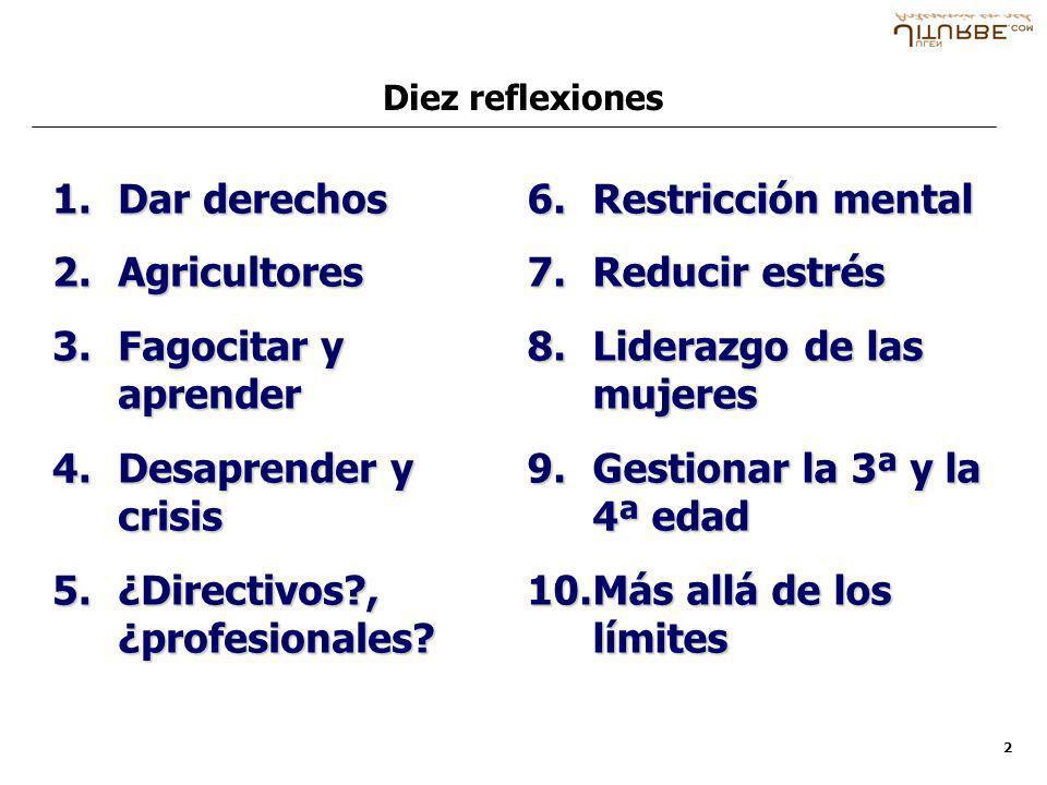 2 1.Dar derechos 2.Agricultores 3.Fagocitar y aprender 4.Desaprender y crisis 5.¿Directivos?, ¿profesionales? 6.Restricción mental 7.Reducir estrés 8.