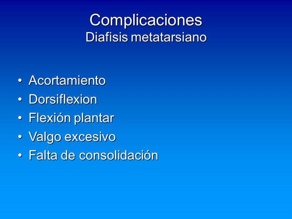 Complicaciones Diafisis metatarsiano AcortamientoAcortamiento DorsiflexionDorsiflexion Flexión plantarFlexión plantar Valgo excesivoValgo excesivo Fal