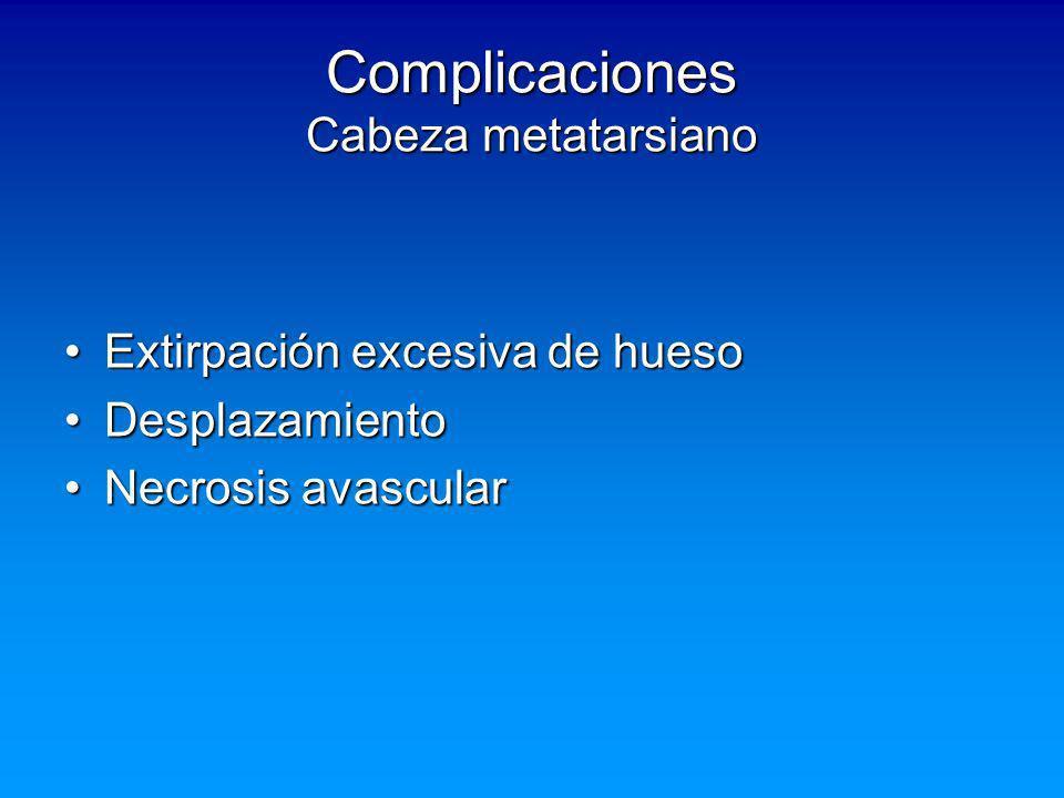 Complicaciones Cabeza metatarsiano Extirpación excesiva de huesoExtirpación excesiva de hueso DesplazamientoDesplazamiento Necrosis avascularNecrosis