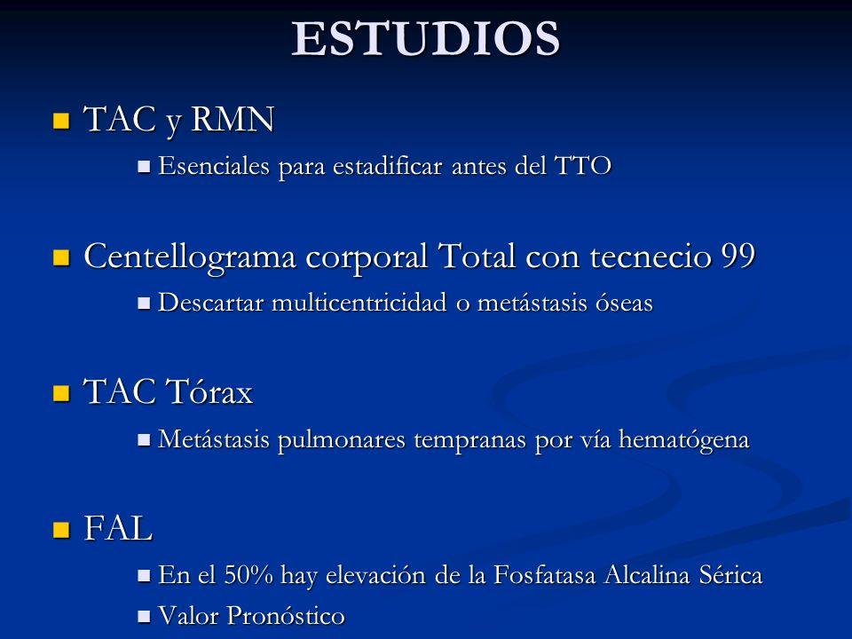ESTUDIOS TAC y RMN TAC y RMN Esenciales para estadificar antes del TTO Esenciales para estadificar antes del TTO Centellograma corporal Total con tecn