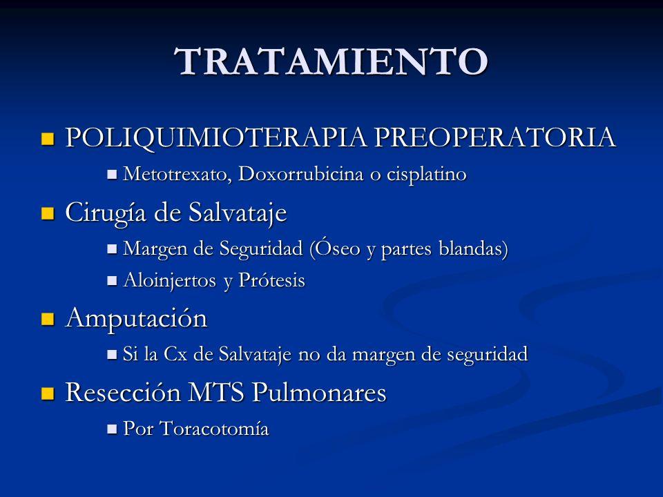 TRATAMIENTO POLIQUIMIOTERAPIA PREOPERATORIA POLIQUIMIOTERAPIA PREOPERATORIA Metotrexato, Doxorrubicina o cisplatino Metotrexato, Doxorrubicina o cispl