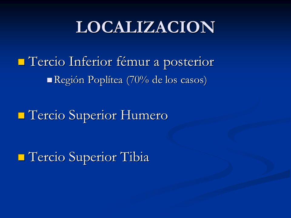 LOCALIZACION Tercio Inferior fémur a posterior Tercio Inferior fémur a posterior Región Poplítea (70% de los casos) Región Poplítea (70% de los casos)