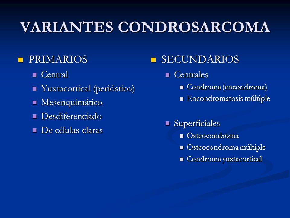 VARIANTES CONDROSARCOMA PRIMARIOS PRIMARIOS Central Central Yuxtacortical (perióstico) Yuxtacortical (perióstico) Mesenquimático Mesenquimático Desdif