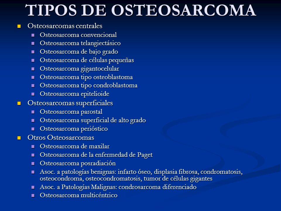 TIPOS DE OSTEOSARCOMA Osteosarcomas centrales Osteosarcomas centrales Osteosarcoma convencional Osteosarcoma convencional Osteosarcoma telangiectásico