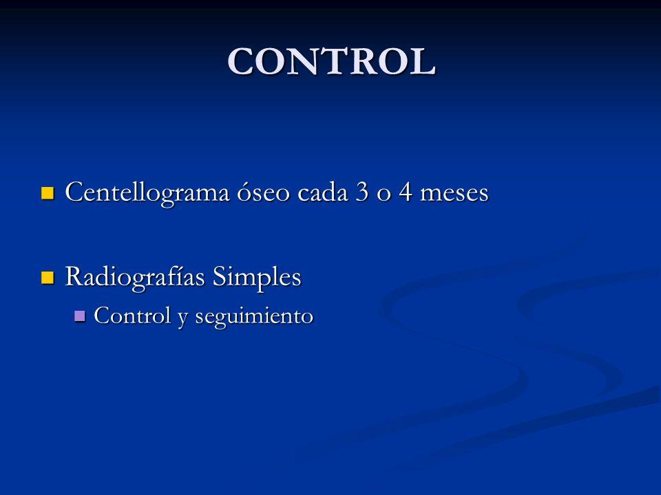 CONTROL Centellograma óseo cada 3 o 4 meses Centellograma óseo cada 3 o 4 meses Radiografías Simples Radiografías Simples Control y seguimiento Contro