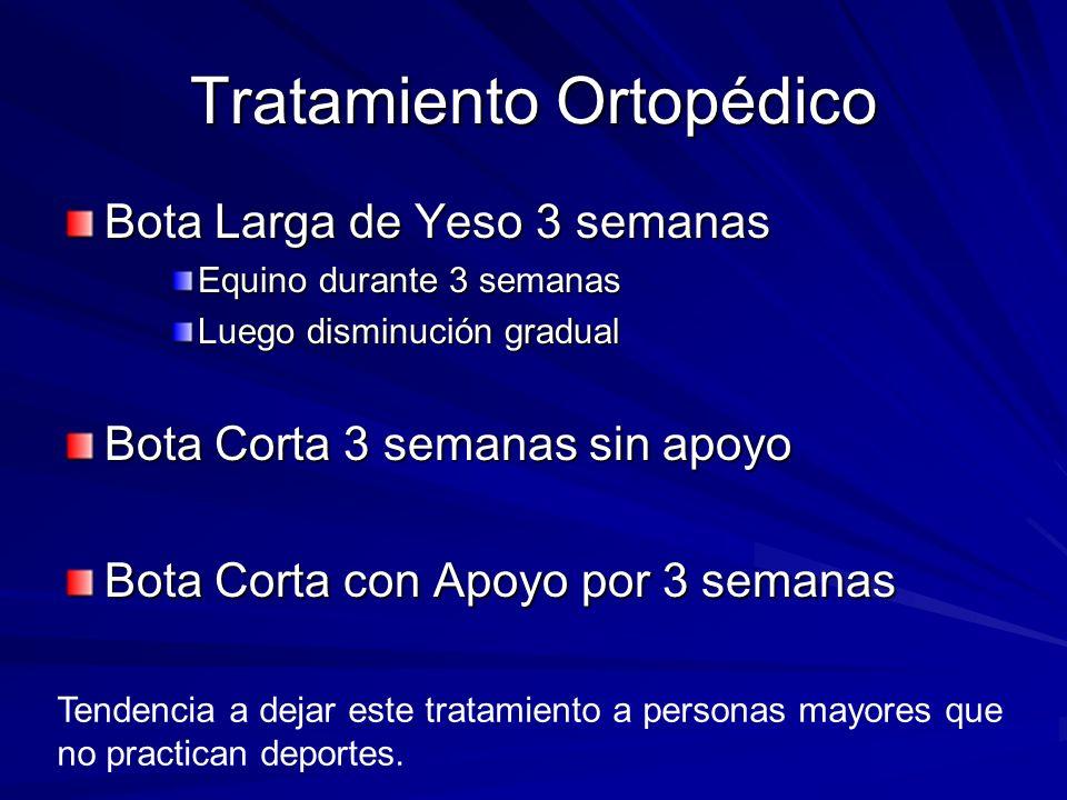 Tratamiento Ortopédico Bota Larga de Yeso 3 semanas Equino durante 3 semanas Luego disminución gradual Bota Corta 3 semanas sin apoyo Bota Corta con A