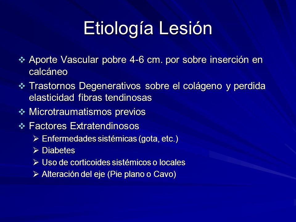 Etiología Lesión Aporte Vascular pobre 4-6 cm. por sobre inserción en calcáneo Aporte Vascular pobre 4-6 cm. por sobre inserción en calcáneo Trastorno