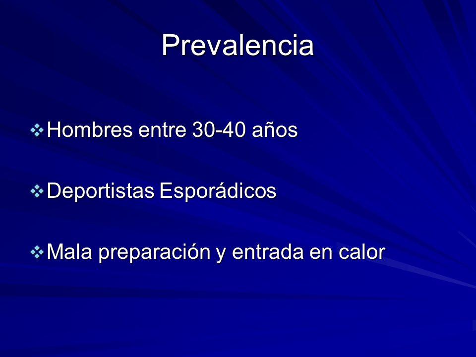 Prevalencia Hombres entre 30-40 años Hombres entre 30-40 años Deportistas Esporádicos Deportistas Esporádicos Mala preparación y entrada en calor Mala