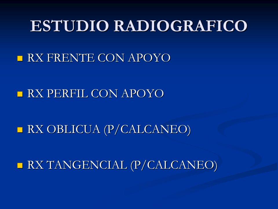 ESTUDIO RADIOGRAFICO RX FRENTE CON APOYO RX FRENTE CON APOYO RX PERFIL CON APOYO RX PERFIL CON APOYO RX OBLICUA (P/CALCANEO) RX OBLICUA (P/CALCANEO) R