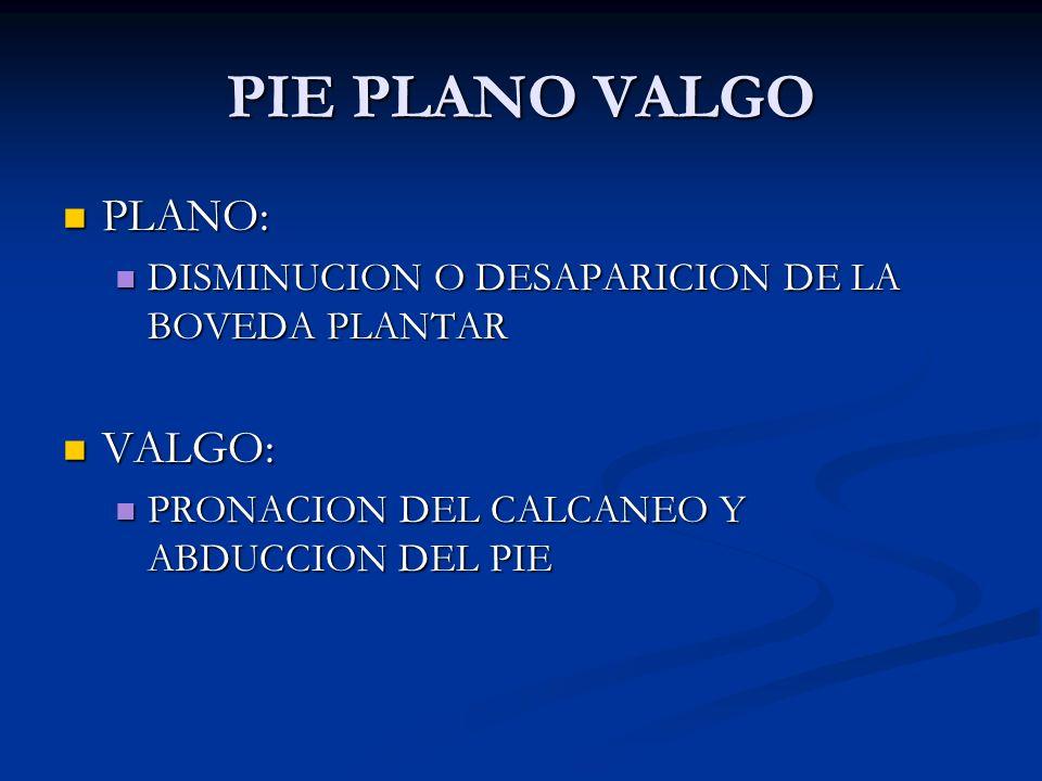 PIE PLANO VALGO PLANO: PLANO: DISMINUCION O DESAPARICION DE LA BOVEDA PLANTAR DISMINUCION O DESAPARICION DE LA BOVEDA PLANTAR VALGO: VALGO: PRONACION