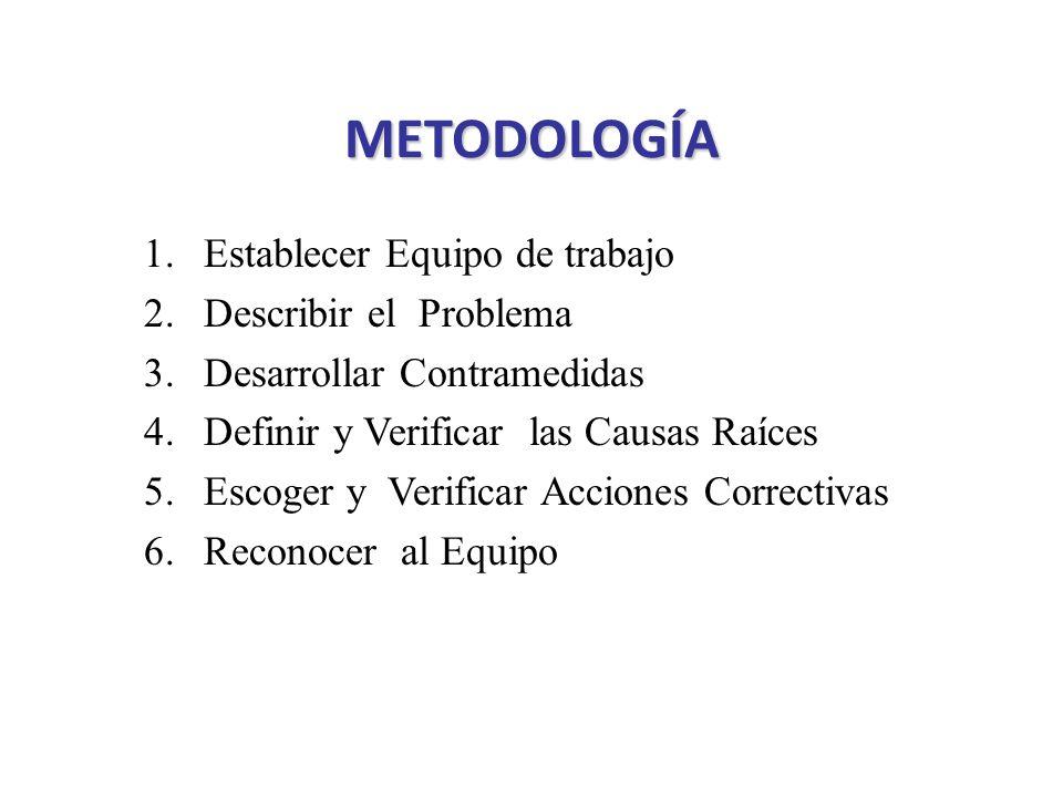 METODOLOGÍA 1.Establecer Equipo de trabajo 2.Describir el Problema 3.Desarrollar Contramedidas 4.Definir y Verificar las Causas Raíces 5.Escoger y Ver