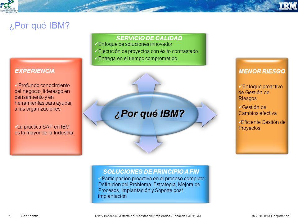 © 2010 IBM Corporation112kY-19Z3Q3C -Oferta del Maestro de Empleados Global en SAP HCMConfidential ¿Por qué IBM? MENOR RIESGO EXPERIENCIA SOLUCIONES D