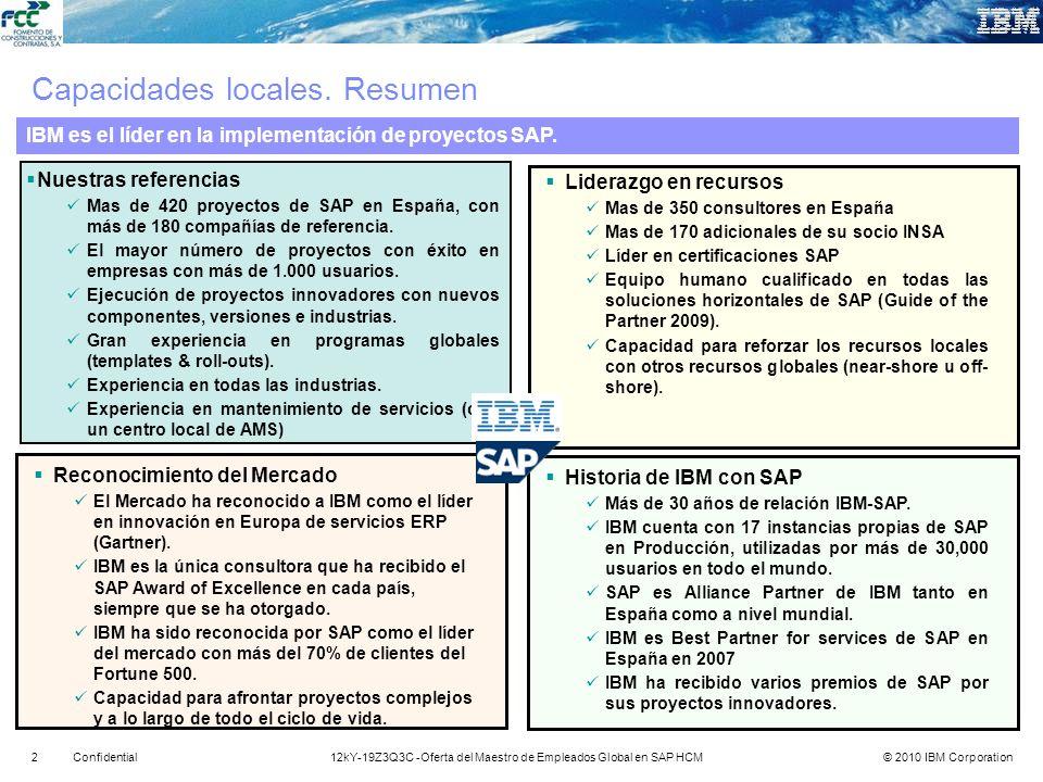 © 2010 IBM Corporation312kY-19Z3Q3C -Oferta del Maestro de Empleados Global en SAP HCMConfidential Práctica Global SAP en IBM GBS– Diferenciadores Clave Galardonado con 4 premios Pinnacle en 2009 como Líder en Satisfacción del Cliente Líder en Capacidad de Ejecución por 2009 Gartner Magic Quadrant para Norteamérica ERP Service Providers Líder ERP Service Provider por 2009 Gartner European Magic Quadrant Líder en Estrategia y Visión SAP según Q3 2009 Forrester Global SAP Implementation Providers Survey Líder en dedicación de recursos SAP con más de 20.500 profesionales en más de 80 países Líder en Consultores Certificados SAP en sus 23 Global Delivery Centers (>8,700 consultores SAP) Alianza Mundial entre Leo Apotheker y Ginni Rometty como socios en el área de Retail Alianza mundial con SAP: Retail Trilogy 2009 A joint- first of a kind- proof of performance for the retail industry