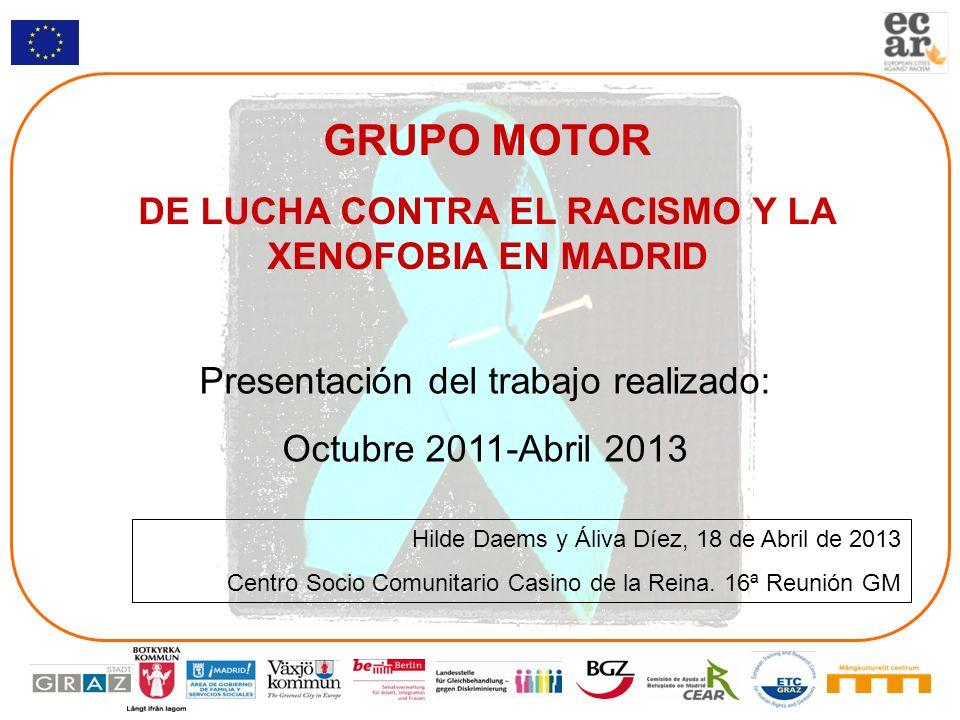 GRUPO MOTOR DE LUCHA CONTRA EL RACISMO Y LA XENOFOBIA EN MADRID Presentación del trabajo realizado: Octubre 2011-Abril 2013 Hilde Daems y Áliva Díez,