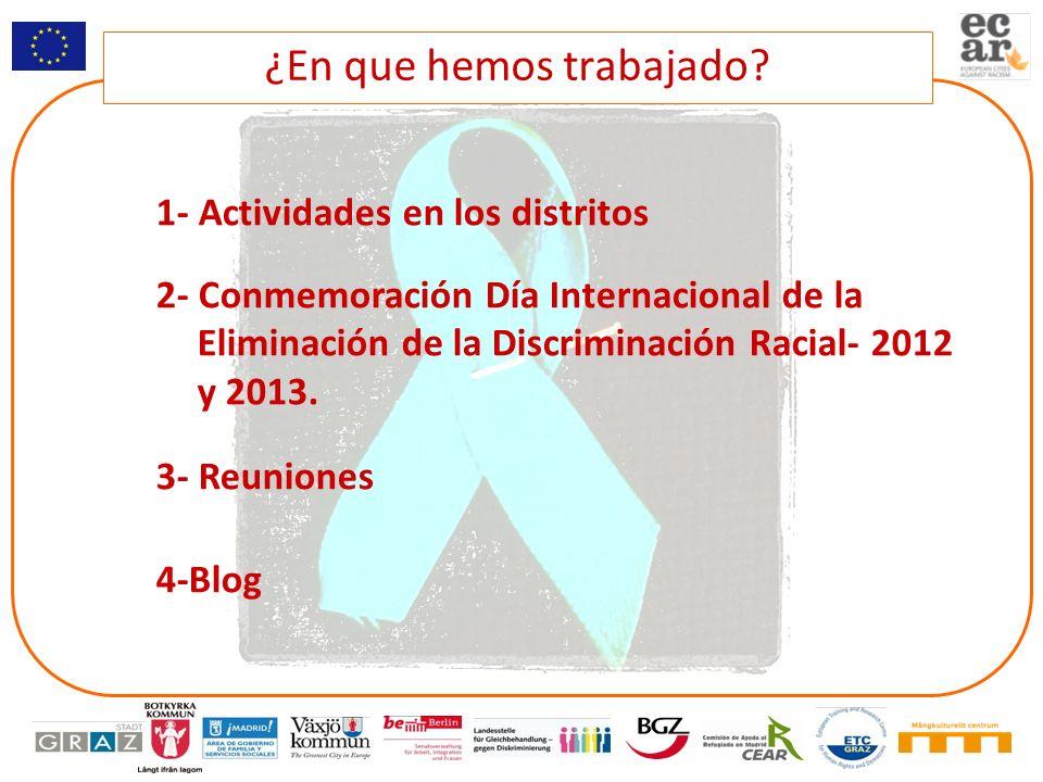1- Actividades en los distritos 2- Conmemoración Día Internacional de la Eliminación de la Discriminación Racial- 2012 y 2013. 3- Reuniones 4-Blog ¿En