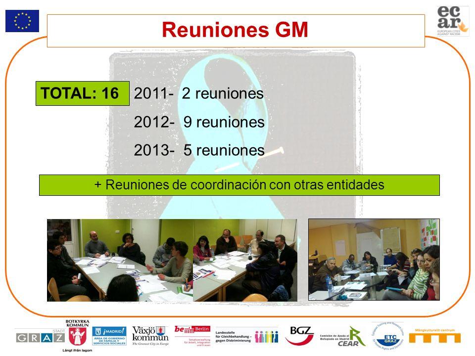 Reuniones GM 2011- 2 reuniones 2012- 9 reuniones 2013- 5 reuniones TOTAL: 16 + Reuniones de coordinación con otras entidades