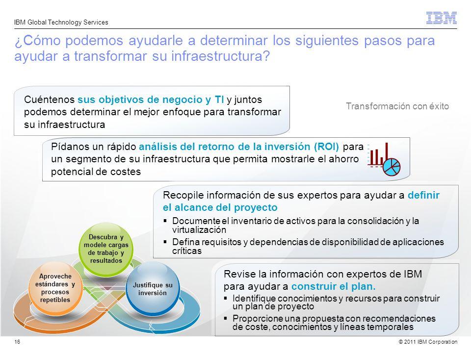 © 2011 IBM Corporation IBM Global Technology Services 16 ¿Cómo podemos ayudarle a determinar los siguientes pasos para ayudar a transformar su infraes