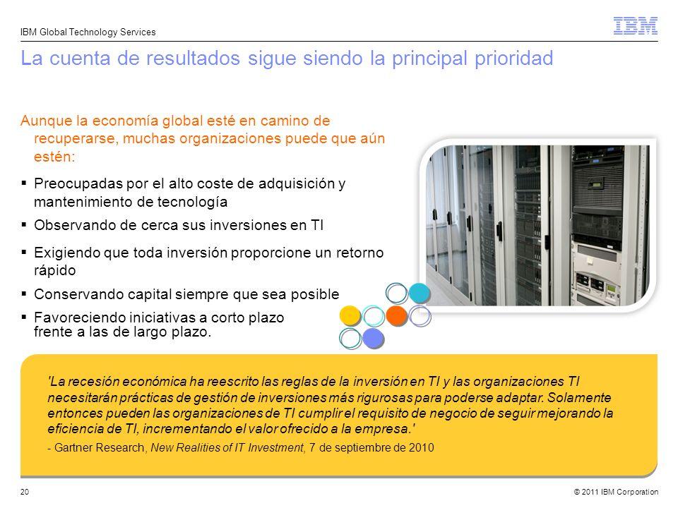 © 2011 IBM Corporation IBM Global Technology Services 20 La cuenta de resultados sigue siendo la principal prioridad Aunque la economía global esté en