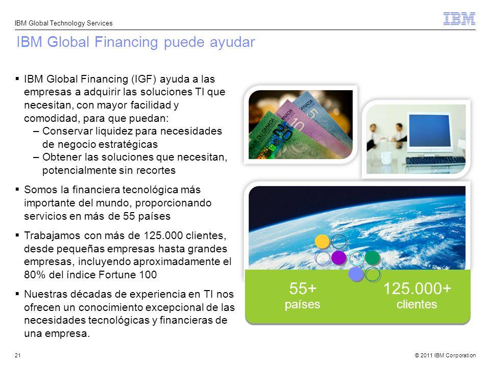 © 2011 IBM Corporation IBM Global Technology Services 21 IBM Global Financing puede ayudar IBM Global Financing (IGF) ayuda a las empresas a adquirir