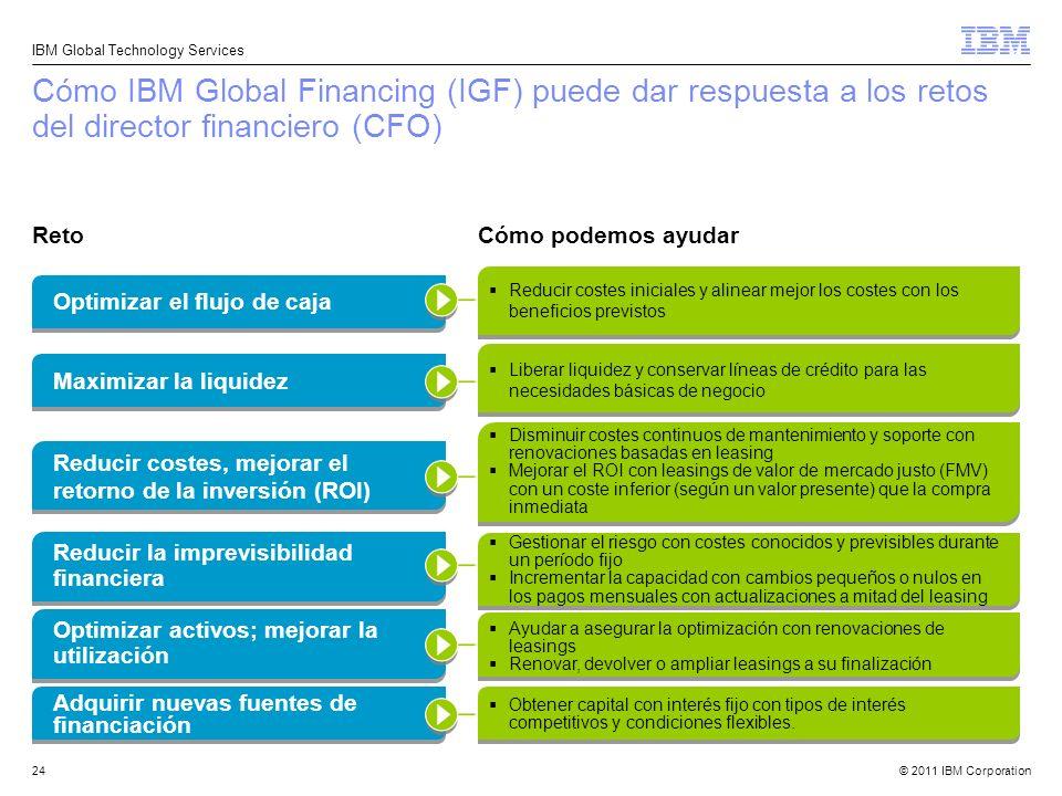 © 2011 IBM Corporation IBM Global Technology Services 24 Cómo IBM Global Financing (IGF) puede dar respuesta a los retos del director financiero (CFO)