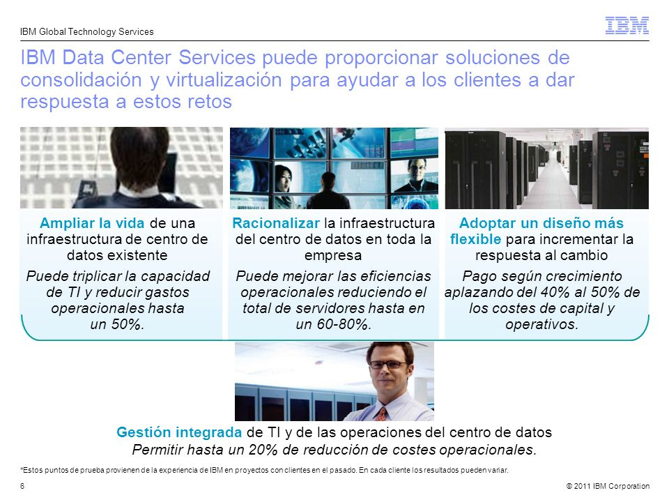 © 2011 IBM Corporation IBM Global Technology Services 6 IBM Data Center Services puede proporcionar soluciones de consolidación y virtualización para