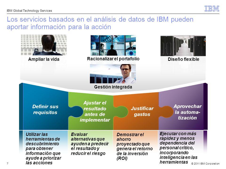 © 2011 IBM Corporation IBM Global Technology Services 7 Los servicios basados en el análisis de datos de IBM pueden aportar información para la acción
