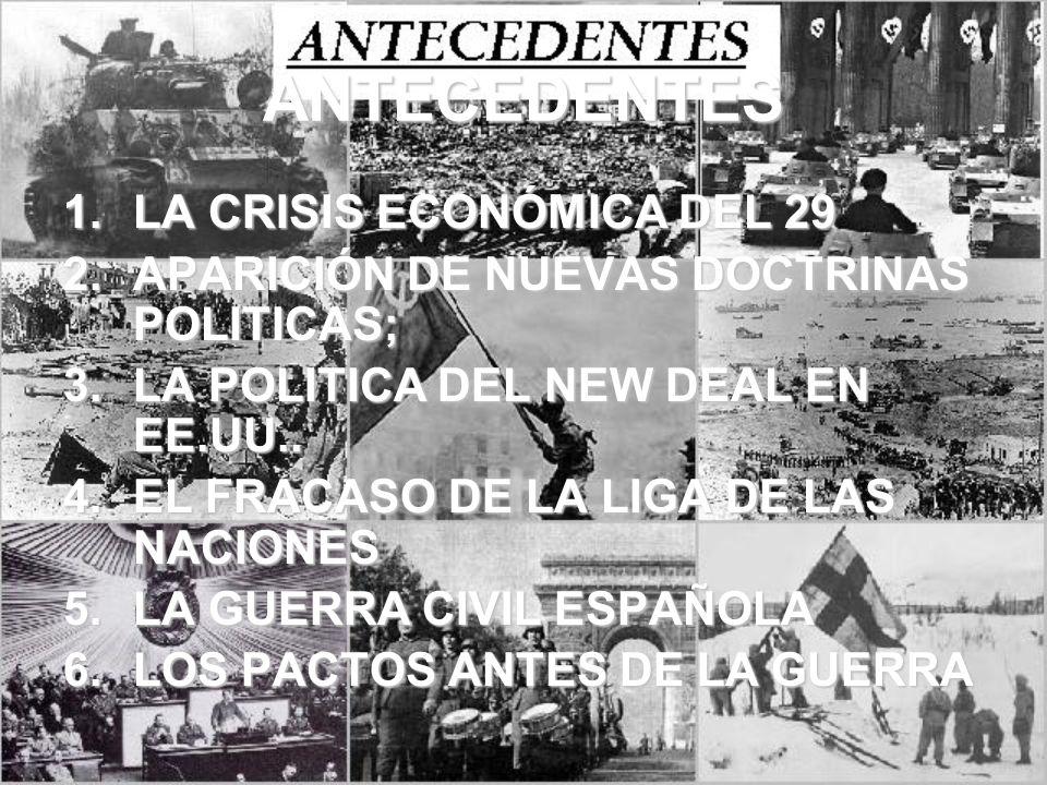 ANTECEDENTES 1.LA CRISIS ECONÓMICA DEL 29 2.APARICIÓN DE NUEVAS DOCTRINAS POLITICAS; 3.LA POLITICA DEL NEW DEAL EN EE.UU.. 4.EL FRACASO DE LA LIGA DE