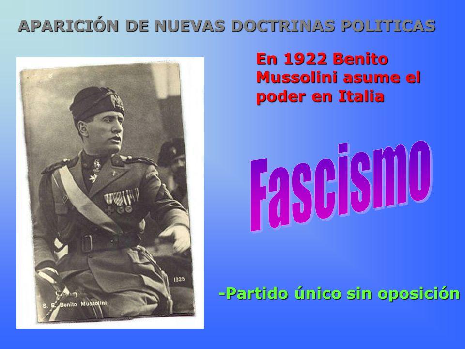 En 1922 Benito Mussolini asume el poder en Italia -Partido único sin oposición APARICIÓN DE NUEVAS DOCTRINAS POLITICAS
