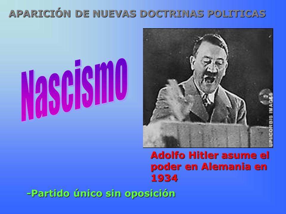 -Partido único sin oposición Adolfo Hitler asume el poder en Alemania en 1934 APARICIÓN DE NUEVAS DOCTRINAS POLITICAS