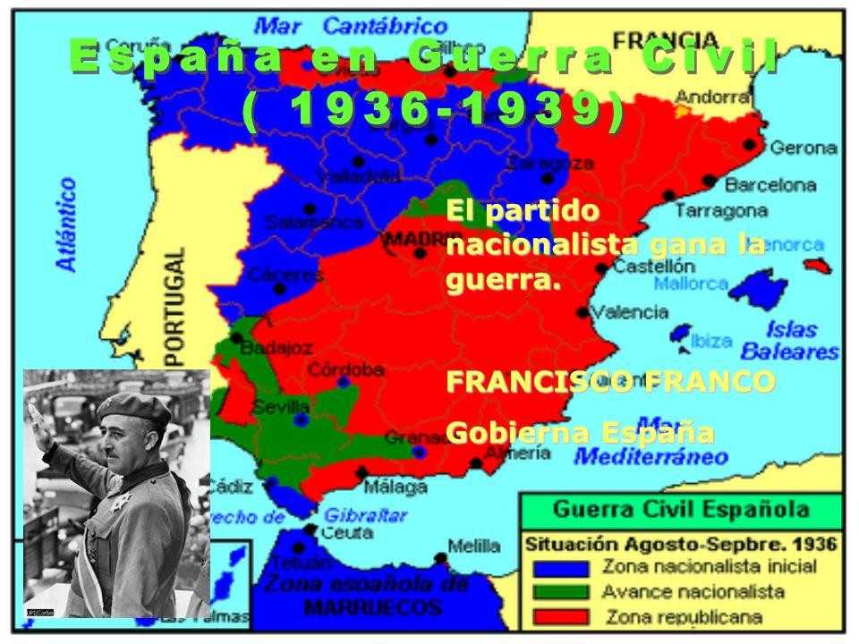 El partido nacionalista gana la guerra. FRANCISCO FRANCO Gobierna España