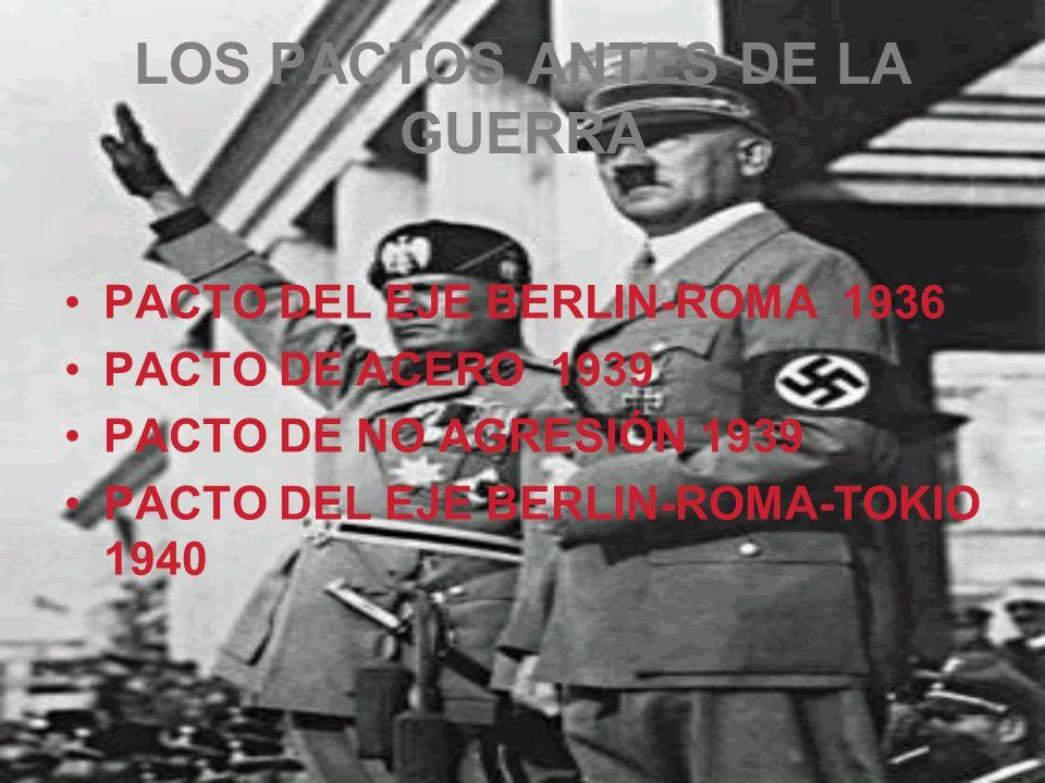 LOS PACTOS ANTES DE LA GUERRA PACTO DEL EJE BERLIN-ROMA 1936 PACTO DE ACERO 1939 PACTO DE NO AGRESIÓN 1939 PACTO DEL EJE BERLIN-ROMA-TOKIO 1940