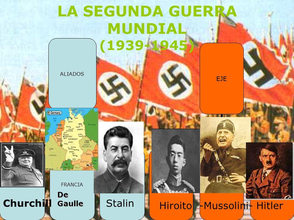 LA SEGUNDA GUERRA MUNDIAL (1939-1945) ChurchillStalin Hiroito -Mussolini- Hitler De Gaulle