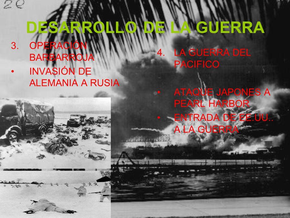 DESARROLLO DE LA GUERRA 3.OPERACIÓN BARBARROJA INVASIÓN DE ALEMANIA A RUSIA 4.LA GUERRA DEL PACIFICO ATAQUE JAPONES A PEARL HARBOR ENTRADA DE EE.UU..