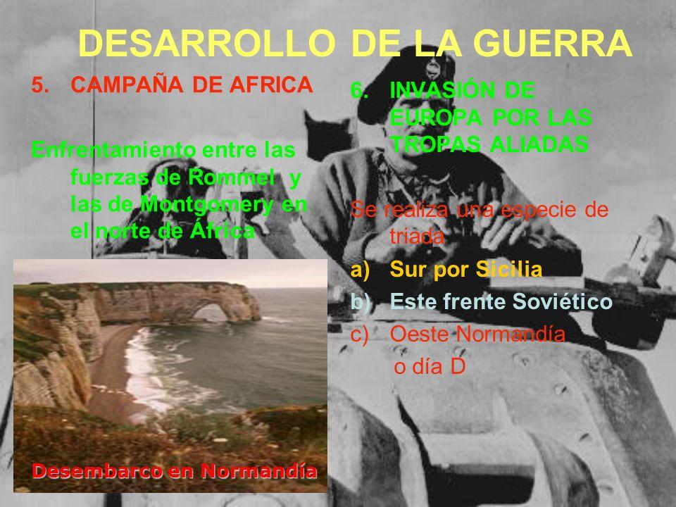 5.CAMPAÑA DE AFRICA Enfrentamiento entre las fuerzas de Rommel y las de Montgomery en el norte de África 6.INVASIÓN DE EUROPA POR LAS TROPAS ALIADAS S