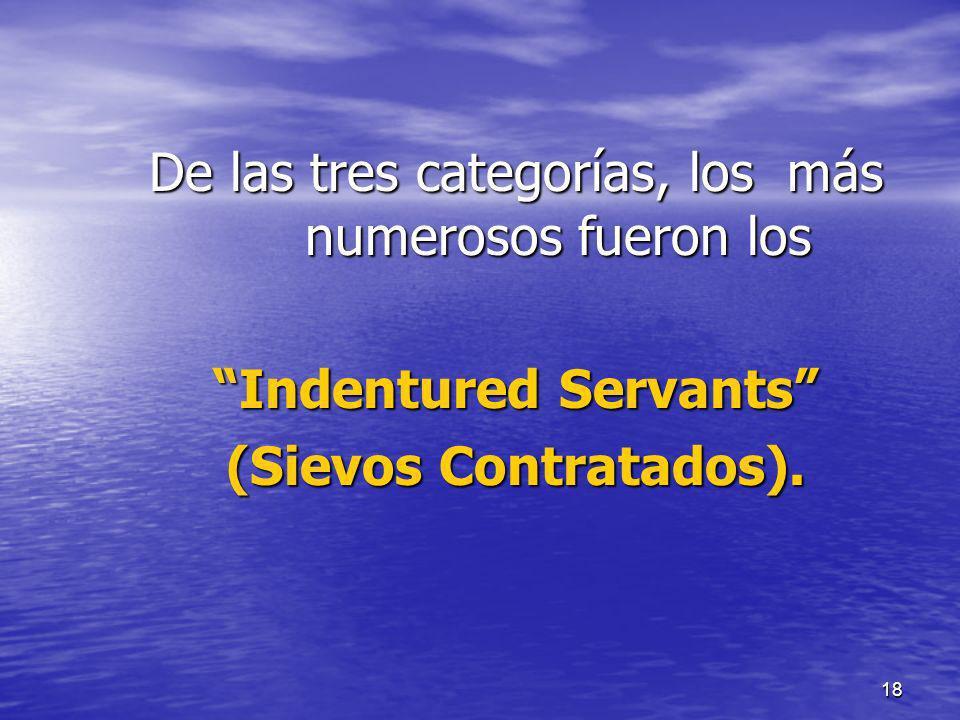 18 De las tres categorías, los más numerosos fueron los Indentured Servants (Sievos Contratados).