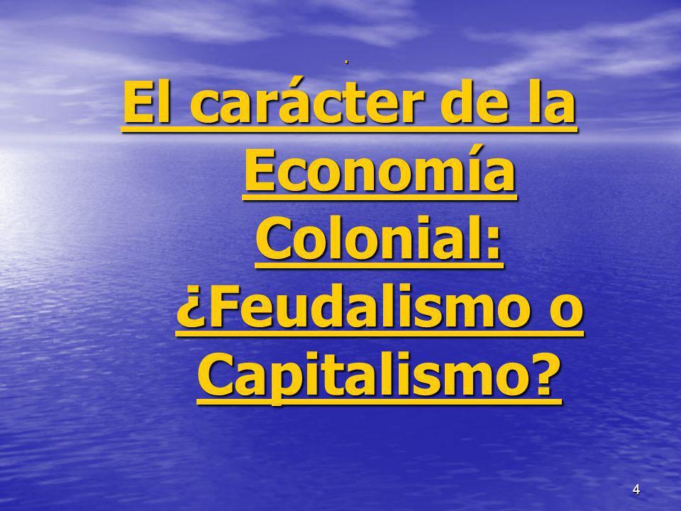 4 El carácter de la Economía Colonial: ¿Feudalismo o Capitalismo?.