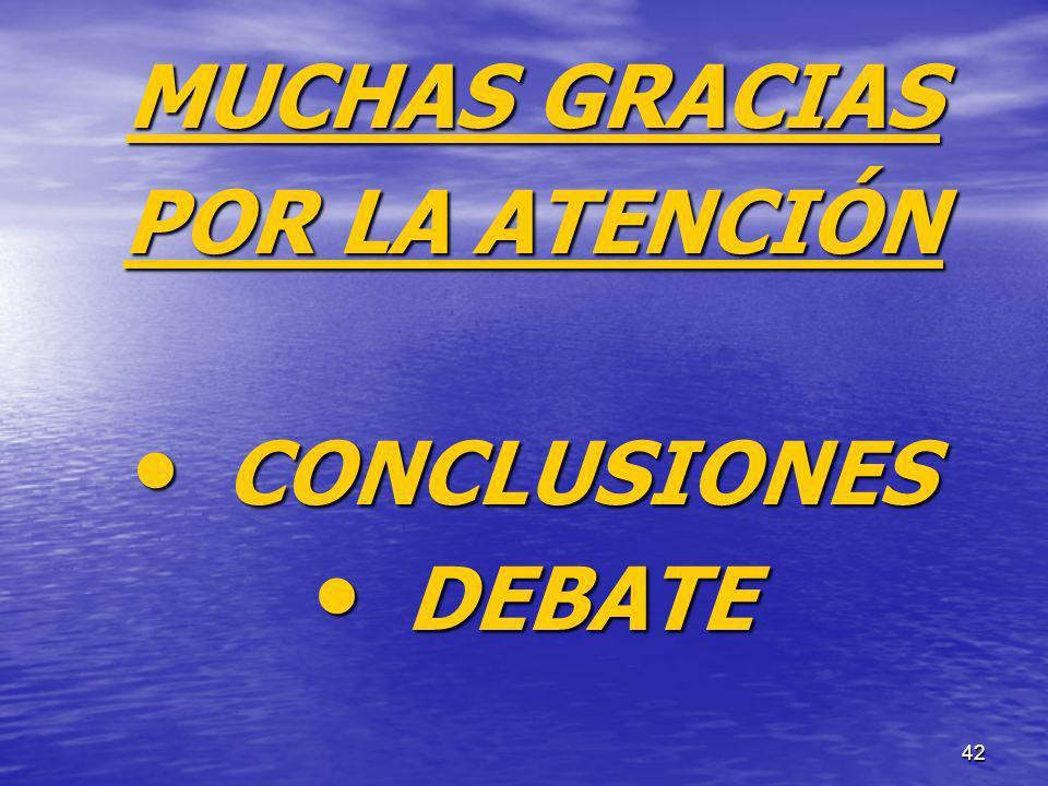 42 MUCHAS GRACIAS POR LA ATENCIÓN CONCLUSIONES CONCLUSIONES DEBATE DEBATE