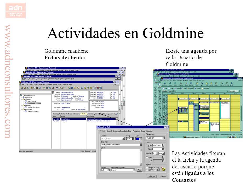 www.adnconsultores.com Actividades en Goldmine Goldmine mantiene Fichas de clientes Existe una agenda por cada Usuario de Goldmine Las Actividades fig