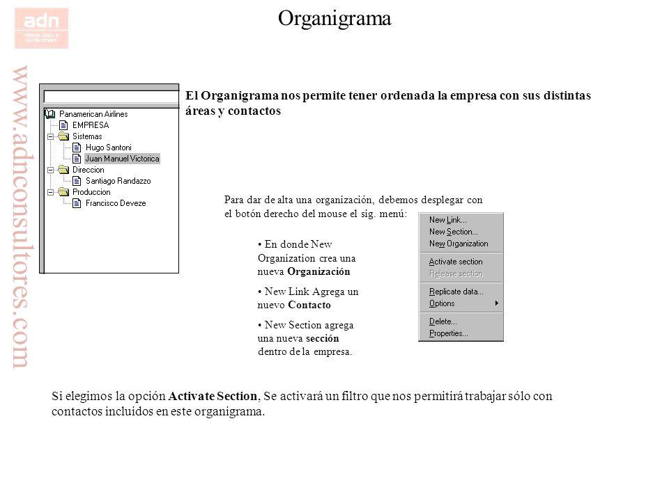 www.adnconsultores.com Organigrama El Organigrama nos permite tener ordenada la empresa con sus distintas áreas y contactos Para dar de alta una organ