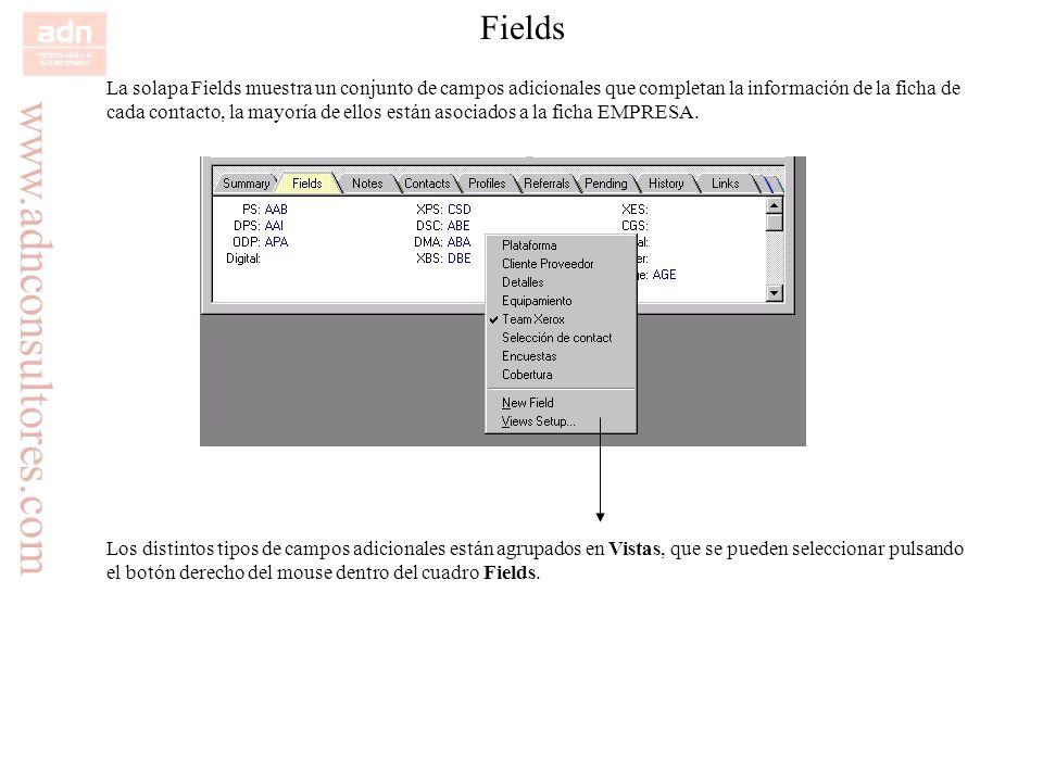 www.adnconsultores.com Fields La solapa Fields muestra un conjunto de campos adicionales que completan la información de la ficha de cada contacto, la
