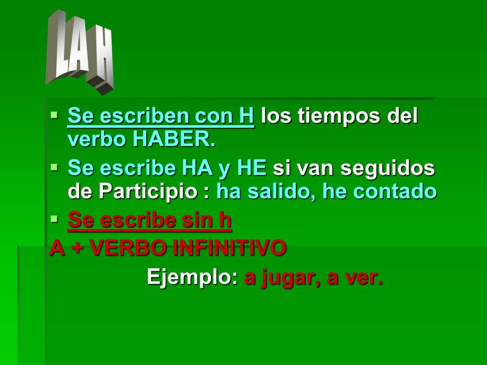 Se escriben con H los tiempos del verbo HABER. Se escriben con H los tiempos del verbo HABER. Se escribe HA y HE si van seguidos de Participio : ha sa