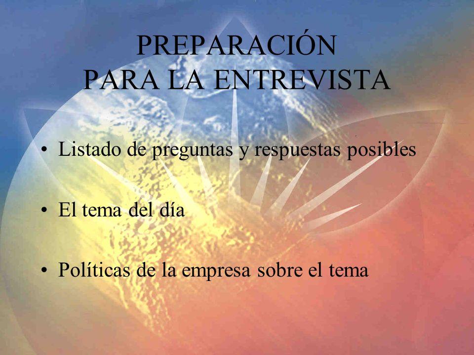 PREPARACIÓN PARA LA ENTREVISTA Listado de preguntas y respuestas posibles El tema del día Políticas de la empresa sobre el tema