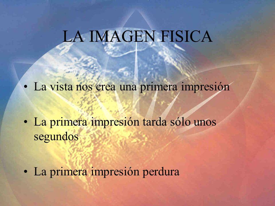LA IMAGEN FISICA La vista nos crea una primera impresión La primera impresión tarda sólo unos segundos La primera impresión perdura