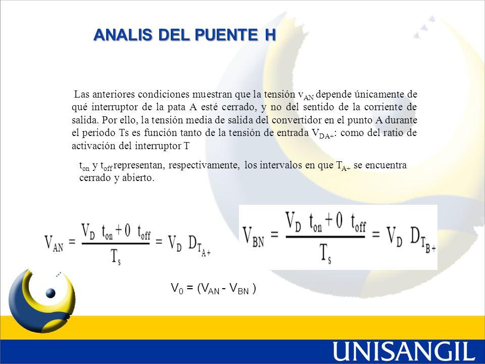 ANALIS DEL PUENTE H Las anteriores condiciones muestran que la tensión v AN depende únicamente de qué interruptor de la pata A esté cerrado, y no del