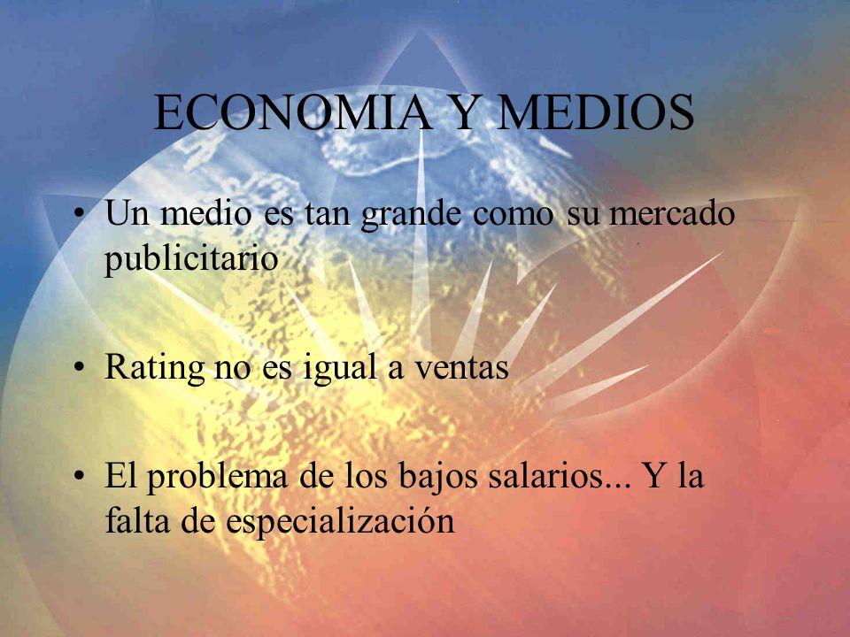 ECONOMIA Y MEDIOS Un medio es tan grande como su mercado publicitario Rating no es igual a ventas El problema de los bajos salarios... Y la falta de e