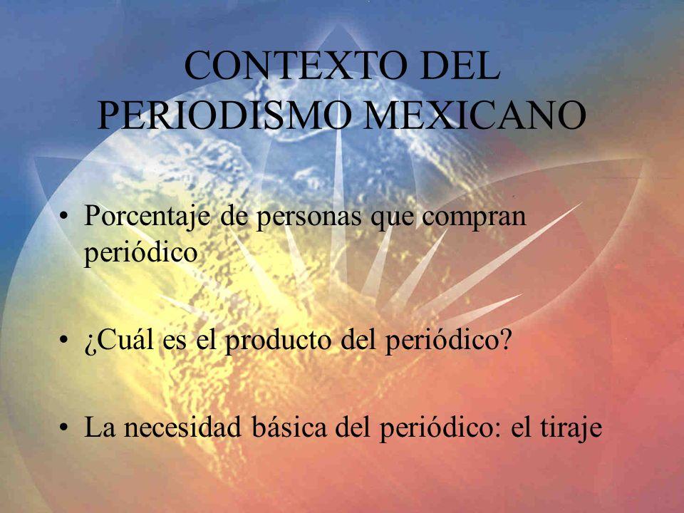 CONTEXTO DEL PERIODISMO MEXICANO Porcentaje de personas que compran periódico ¿Cuál es el producto del periódico? La necesidad básica del periódico: e