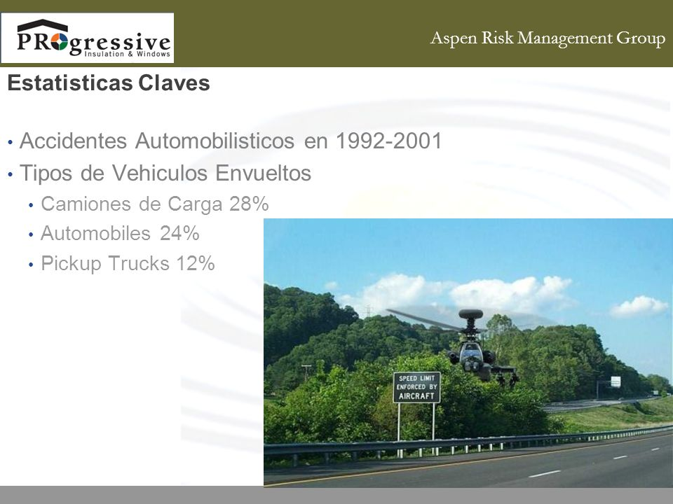 Aspen Risk Management Group Estatisticas Claves Accidentes Automobilisticos en Tipos de Vehiculos Envueltos Camiones de Carga 28% Automobiles 24% Pickup Trucks 12%