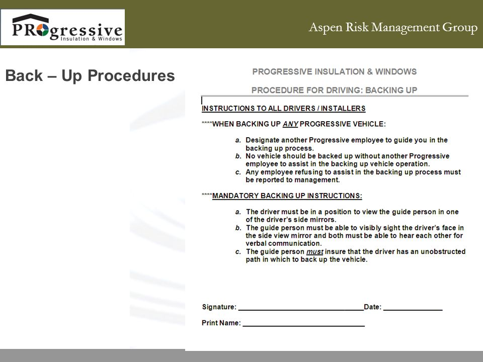 Aspen Risk Management Group Back – Up Procedures