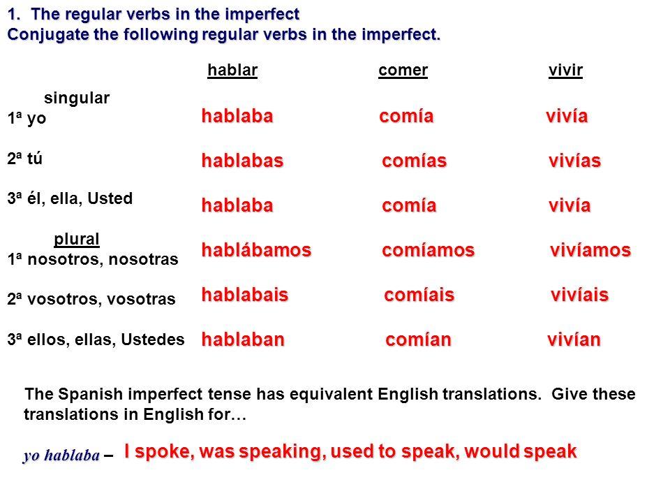 singular 1ª yo 2ª tú 3ª él, ella, Usted plural 1ª nosotros, nosotras 2ª vosotros, vosotras 3ª ellos, ellas, Ustedes hablar comer vivir The Spanish imp
